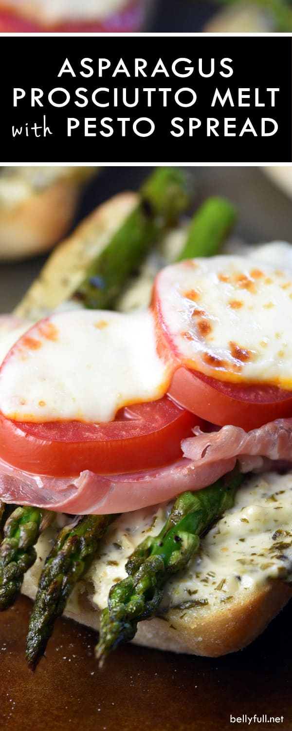 Asparagus and Prosciutto Muenster Melt with Pesto Spread