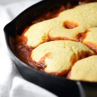 Cornbread meats sloppy joes in this Cornbread Hamburger Skillet! A super tasty dish that's easy, quick, inexpensive, and only requires one pan!