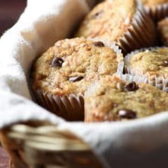 These Chocolate Chip Toffee Banana Bread Muffins are rich and wonderful. They freeze beautifully and reheat in seconds. Enjoy them with a cup of coffee or cold glass of milk!