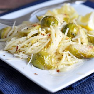 Creamy Lemon Pasta with Roasted Brussels Sprouts