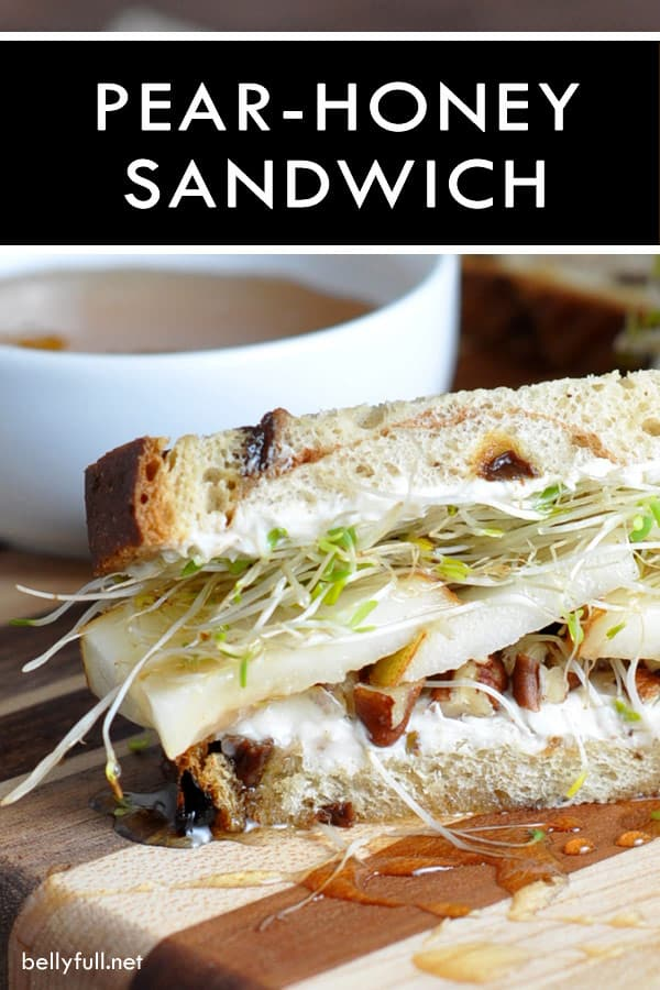 Pear Honey Sandwiches - Crisp pears, sweet honey, and nutty pecans come together is this easy summer vegetarian sandwich. Full of nutrition and great taste!