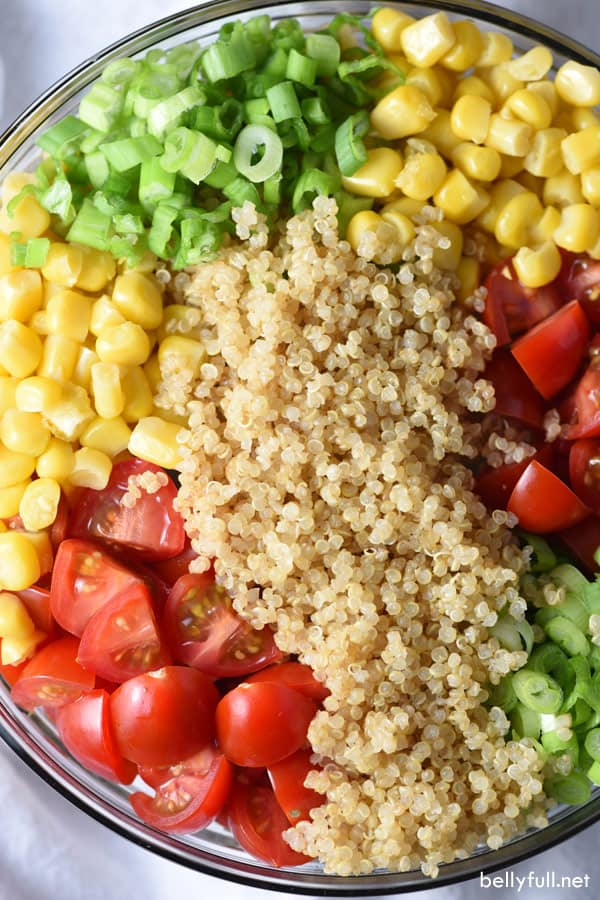 ingredients for quinoa salad in a bowl