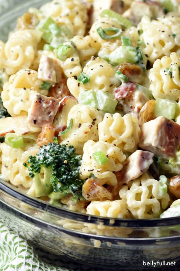 Chicken Broccoli Pasta Salad in serving bowl
