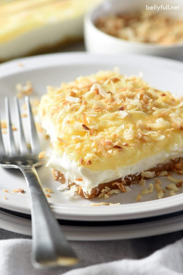 No-Bake Coconut Cream Lush Dessert on a white plate