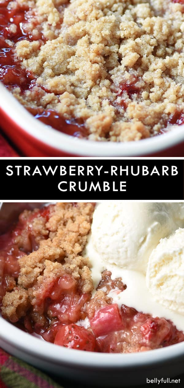 With a streusel topping and luscious fruit, this Strawberry Rhubarb Crumble could not be easier or more perfect for a simple on-the-fly dessert. #crumble #rhubarb #strawberry #strawberries #fruitcrumble