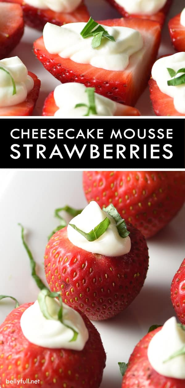 Cheesecake Mousse Strawberries - Freshly hulled strawberries are stuffed with an amazing cheesecake mousse. Eat as a snack or serve as a healthy dessert! #strawberries #strawberry #cheesecake #mousse #summer #stuffedstrawberries