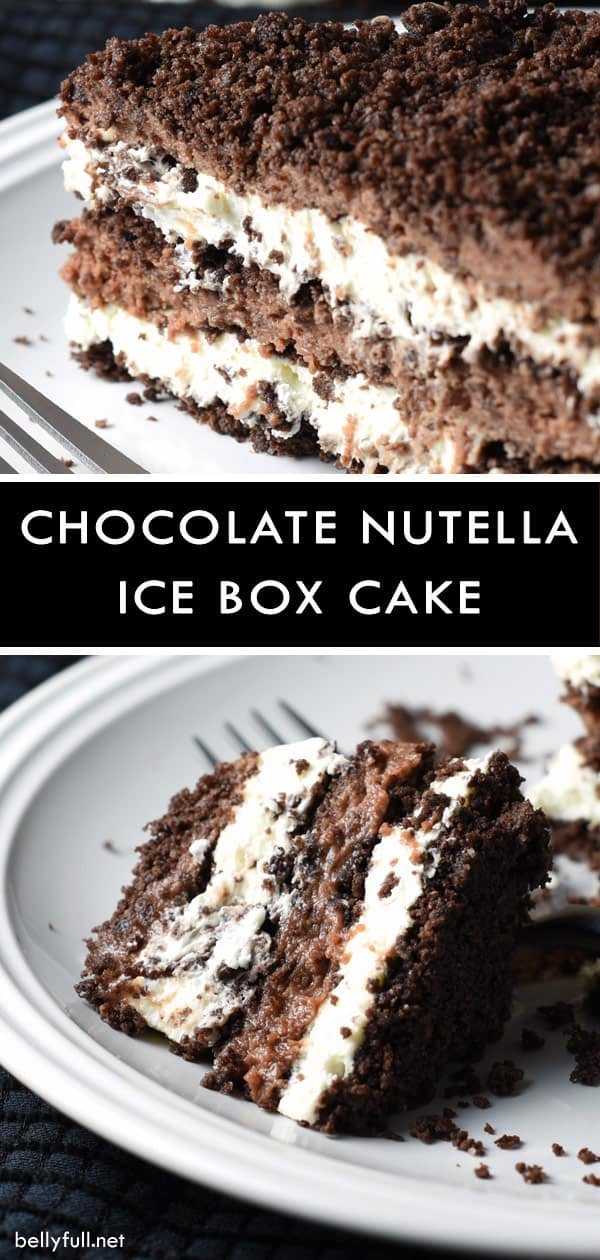 This No-Bake Chocolate Nutella Icebox Cake is the ultimate treat with mascarpone whipped cream and Nutella whipped cream, layered with crushed chocolate graham crackers! #iceboxcake #chocolate #nutella #nobake