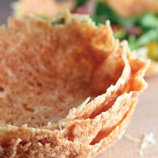Serving salad in a Parmesan Cheese Bowl could not be easier or more fun!