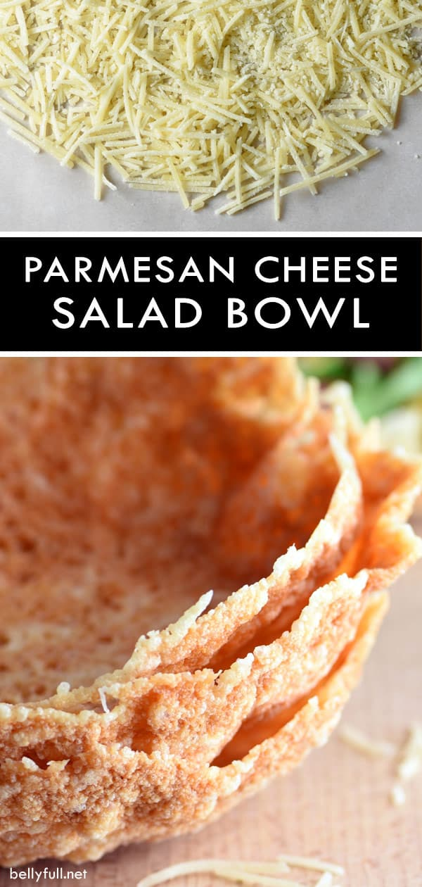 Serving salad in a Parmesan Cheese Bowl could not be easier or more fun! #parmesancheesebowl #parmesancheese #cheesebowl #salad #saladbowl