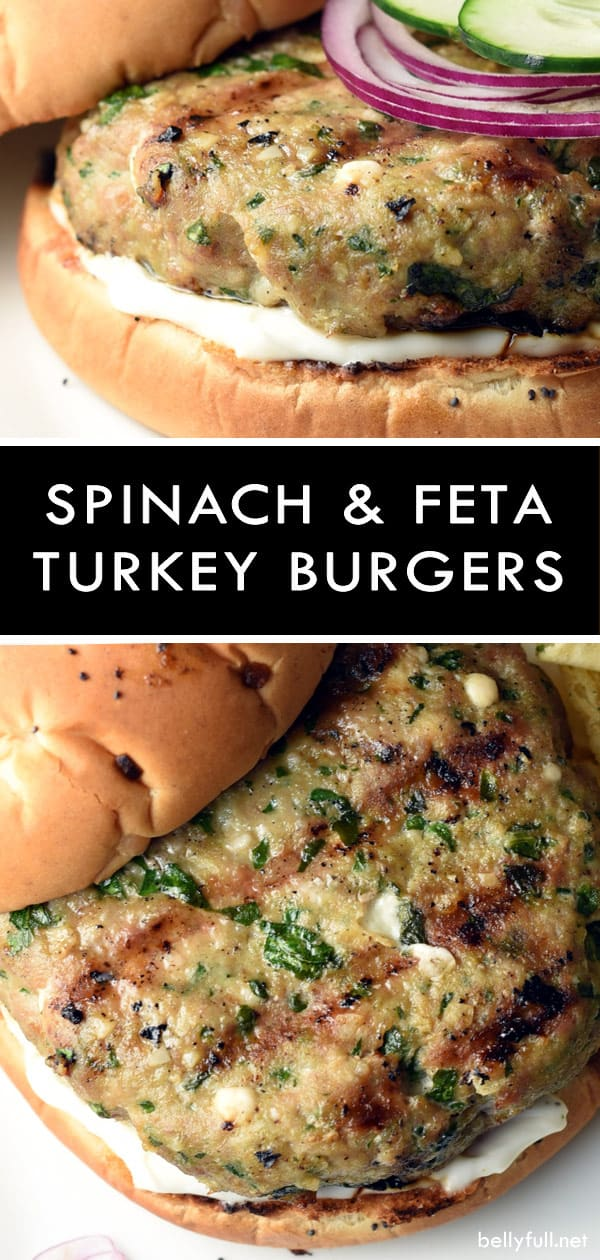 These turkey burgers are filled with delicious spinach and feta, which helps them stay moist and lends so much flavor! #groundturkey #burgers #turkeyburgers #grilled