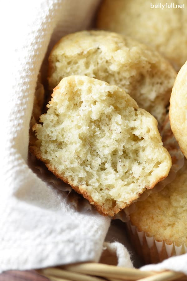 These Quick One-Bowl Banana Muffins are light and tender, with fresh banana throughout. So easy and only one bowl, making clean up a breeze. Perfect for breakfast on the go!