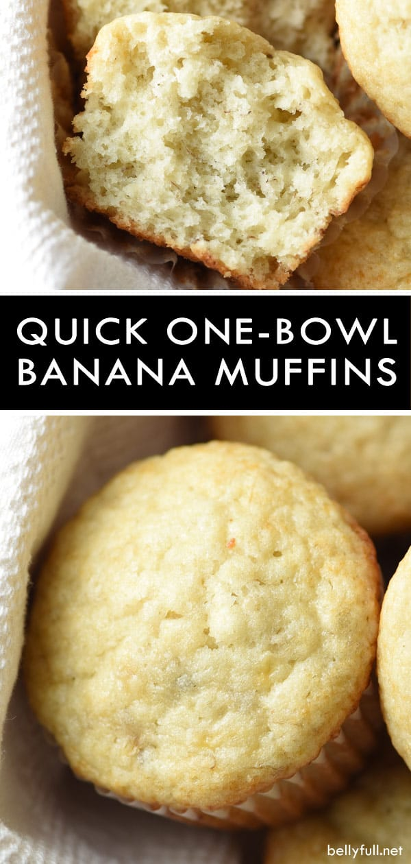 These Quick One-Bowl Banana Muffins are light and tender, with fresh banana throughout. So easy and only one bowl, making clean up a breeze. Perfect for breakfast on the go! #muffins #bananamuffins #onebowlbananamuffins #quickandeasy #breakfast #onthego