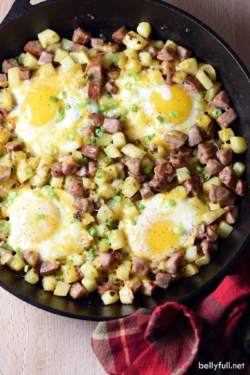 This Skillet Breakfast Hash is so easy and delicious. Perfect for camping or at home.