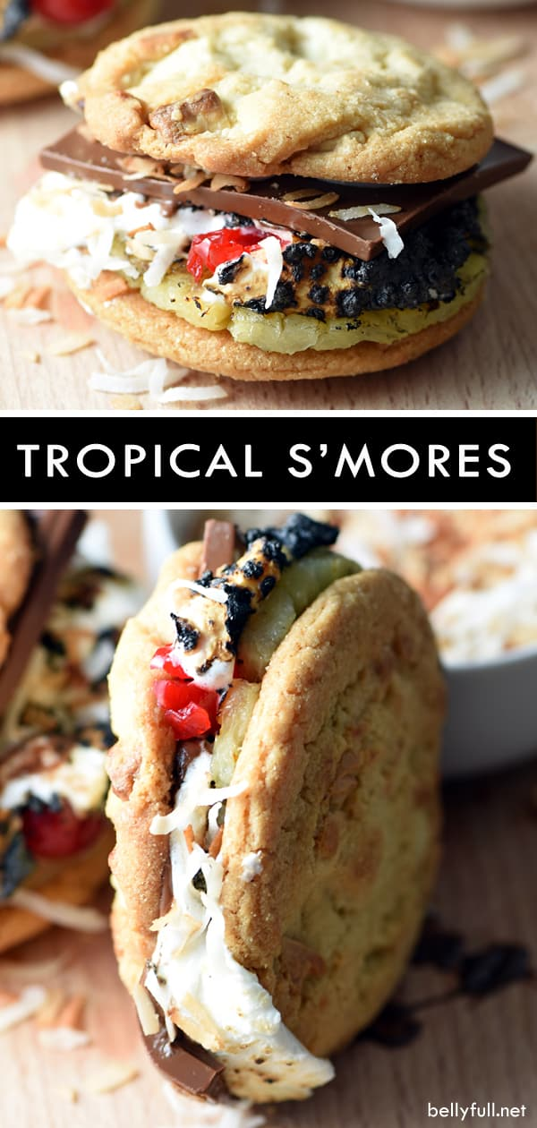 These Tropical S'mores are a fun twist on a classic! S'mores with white chocolate macadamia nut cookies, grilled pineapple, maraschino cherries, chocolate, and toasted coconut. So good! #smores #camping #campingfood #hawaiian