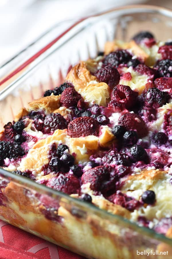 This Blueberry and Raspberry Croissant Puff is an easy and delicious breakfast or dessert casserole using buttery croissants, a cream cheese mixture, and fruit of your choice!