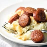 Only 5 ingredients and 10 minutes of prep needed for these absolutely delicious Crock Pot Apple Kielbasa Bites. Perfect as an appetizer, or serve over mashed potatoes for a complete meal!