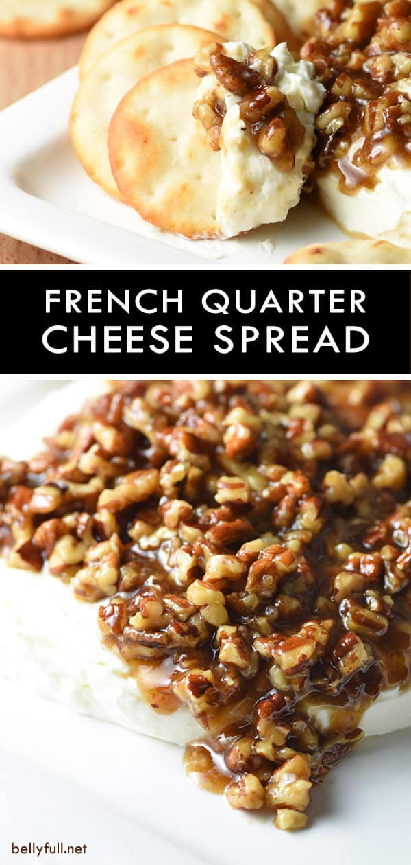 Easy sweet and salty French Quarter Cheese Spread. Topped with sugared pecans, it makes a festive appetizer for holiday gatherings! #cheese #appetizer #cheesespread #cheesespreadrecipeforcrackers #cheeseappetizersforparty #candiedpecans #frenchquarter #frenchquartercheesespread