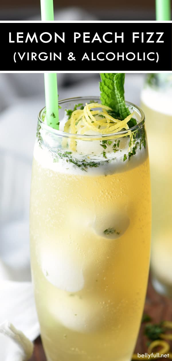 You are only a few ingredients away from the best summer drink! This Lemon Peach Fizz is sweet, simple, refreshing, and absolutely delicious. Great for parties, weddings, or after dinner! #drinks #summerdrinks #alcoholicdrinks #nonalcoholicdrinks #easydrinks #dessertdrinks