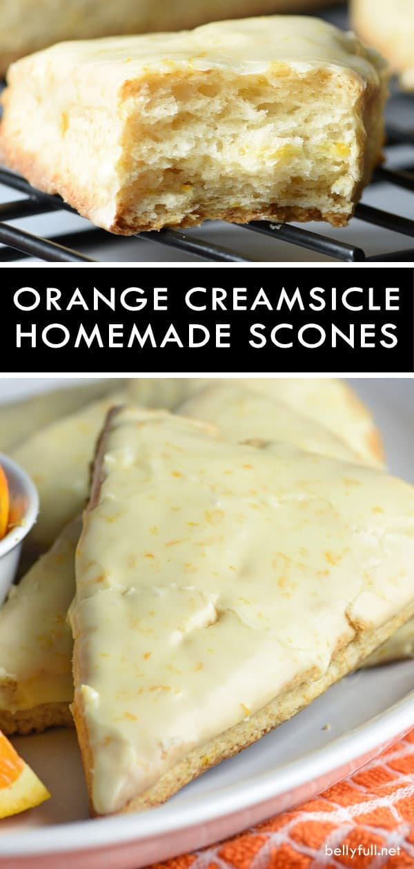These Orange Creamsicle Scones are tender and flaky, with fresh orange zest throughout and a dreamy orange glaze! #scones #sconesrecipe #creamsiclescones #creamsicle #creamsiclerecipes #orangecreamsicle