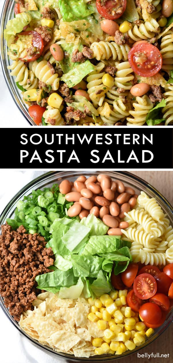 This Southwestern Pasta Salad is loaded with goodies and coated in a kicked up zesty southwestern dressing. It's like a giant deconstructed taco! Great for get togethers. #pastasalad #southwestpastasalad #southwesternpastasalad #potluck