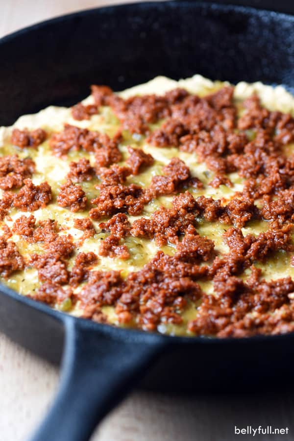 Chile Relleno Dip with chorizo layer