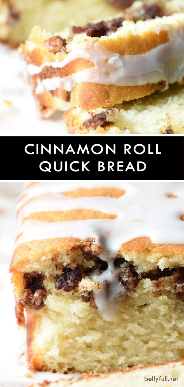 This Cinnamon Roll Quick Bread is buttery and moist, with a hidden layer of cinnamon and pecans, then topped with a silky sweet glaze. So easy and so good! #cinnamonrolls #quickbread #cinnamonrollquickbread #recipe