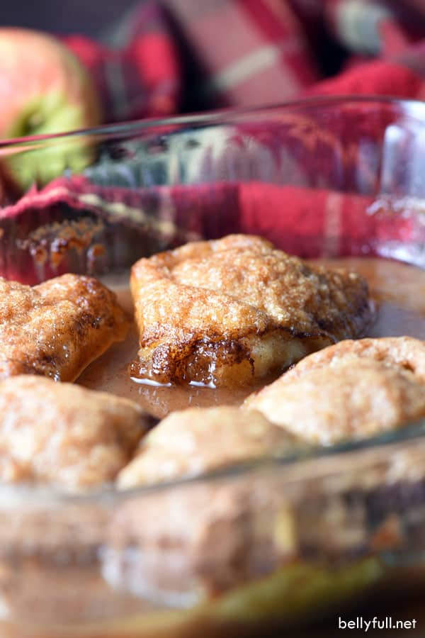 These Easy Country Apple Dumplings are soft and gooey on the bottom, but crispy on top, and they taste like apple pie. So easy and ridiculously good. Plus the house smells amazing while they bake!