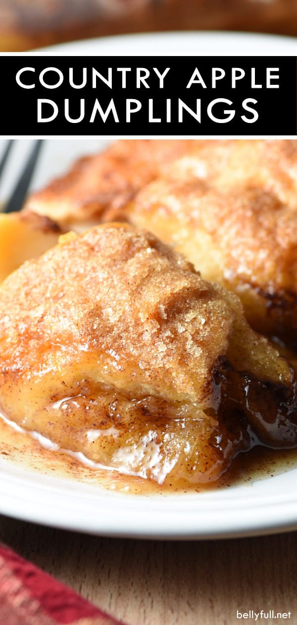 These Easy Country Apple Dumplings are soft and gooey on the bottom, but crispy on top, and they taste like apple pie. So easy and ridiculously good. Plus the house smells amazing while they bake! #apples #dumplings #appledumplings #easyappledumplings #recipe