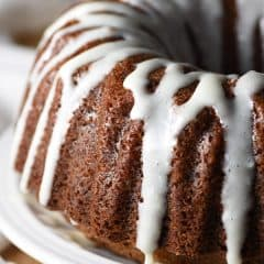 whole apple bundt cake with cream cheese drizzle