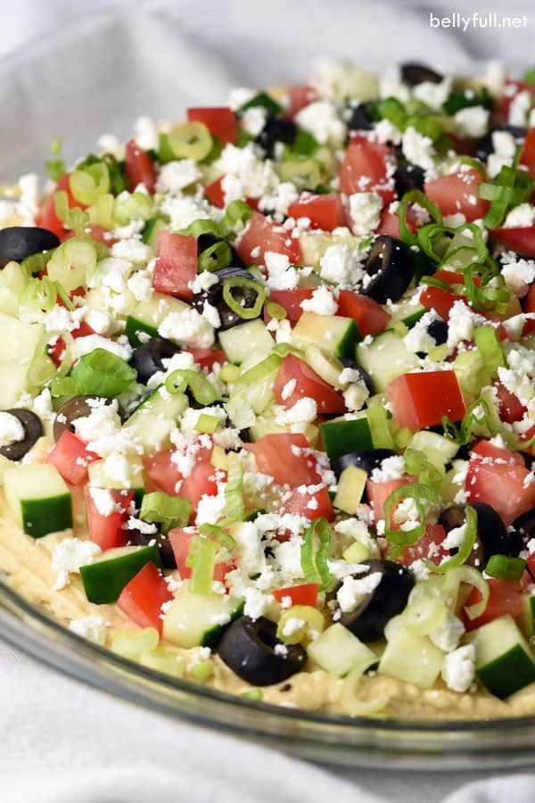 side angle of Greek Dip in glass pie plate