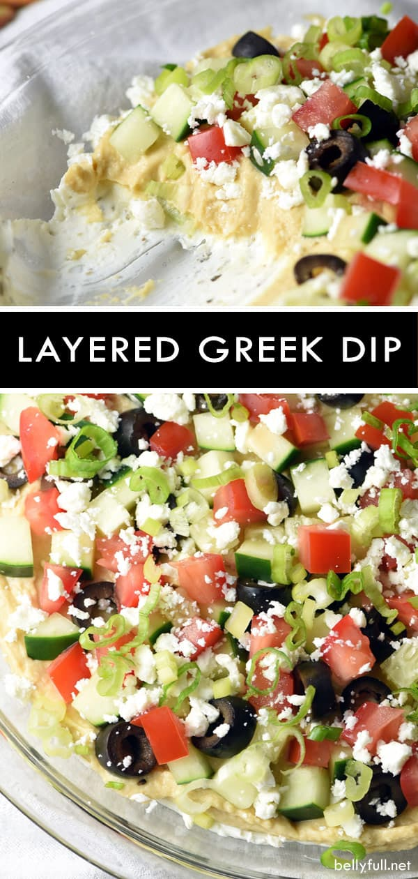 Be whisked away to the Mediterranean with this bright, fresh, and delicious Layered Greek Dip! Perfect for a get together or afternoon snack. Super easy and fast to make! #diprecipe #greekdip #layereddiprecipe #easydips #healthydiprecipe #vegetariandips #glutenfree #glutenfreedip