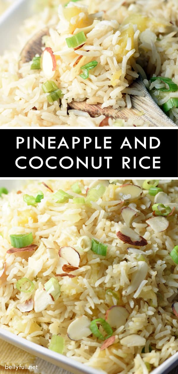 Pineapple Coconut Rice is a mild and light tropical side that pairs perfectly with sweet and sour or teriyaki chicken. #rice #recipe #pineapple #coconut #coconutrice #tropical #hawaiian