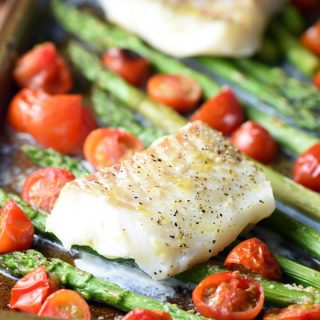 Sheet Pan Cod with Asparagus and Cherry Tomatoes