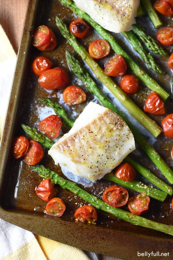 baked cod on a sheet pan with veggies