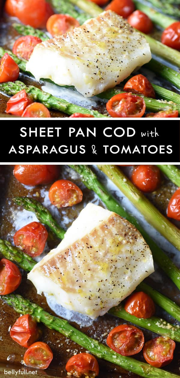 This Sheet Pan Cod is beautiful, healthy, and delicious. Plus a super quick weeknight dinner with easy clean-up! #sheetpanmeal #sheetpanrecipe #healthysheetpan #seafood #cod #healthy #glutenfree