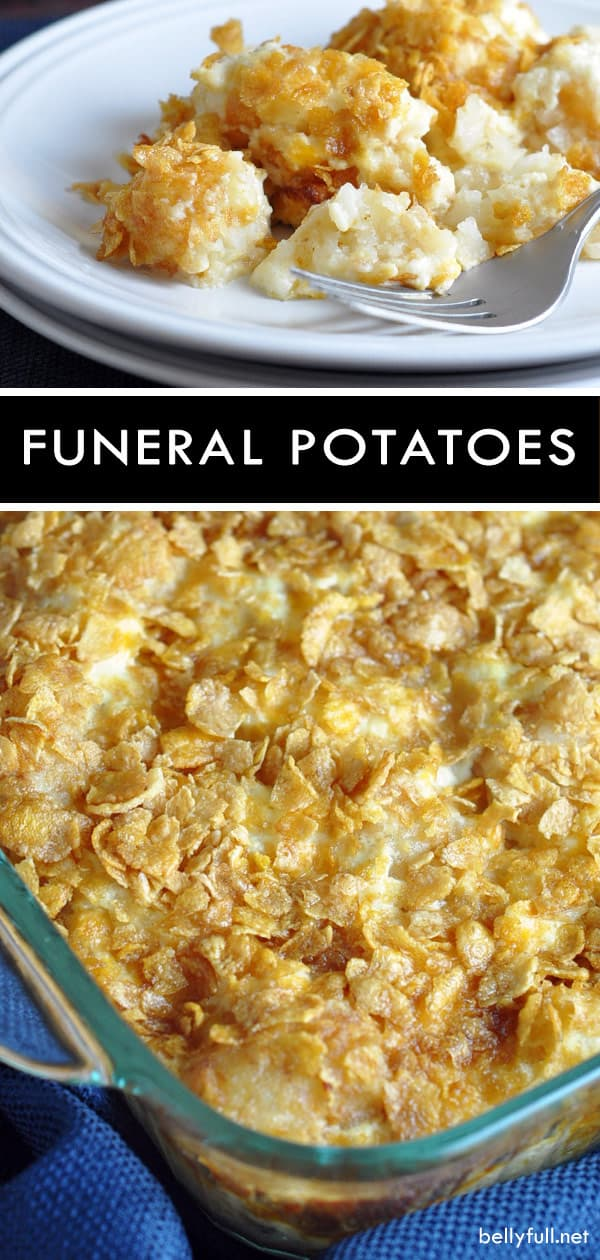 Funeral Potatoes is a classic potato casserole, popular at Utah funerals. This dish is also perfect for luncheons and dinner, of course - easy, comforting, and delicious! #funeralpotatoes #potatoes #casserole #potatocasserole