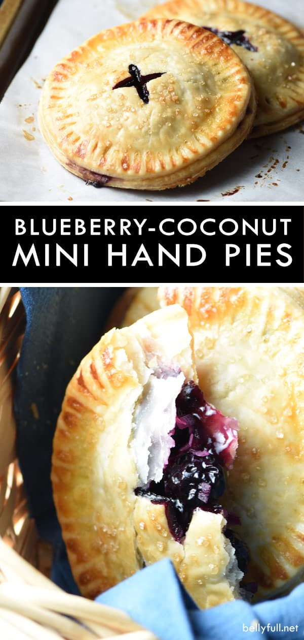 Blueberry-Coconut Mini Hand Pies are easy, full of flavor, and the perfect individual serving size! #pie #handpies #blueberries #blueberryhandpies #recipe