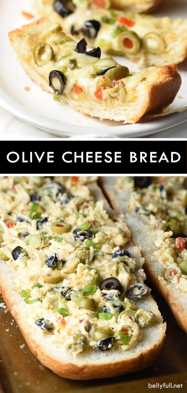 This Olive Cheese Bread is an easy and delicious appetizer with salty olives, gooey cheese, and crunchy bread. Crazy good! #olives #recipes #appetizer #olivebread #olivecheesebread #cheesebread #gameday