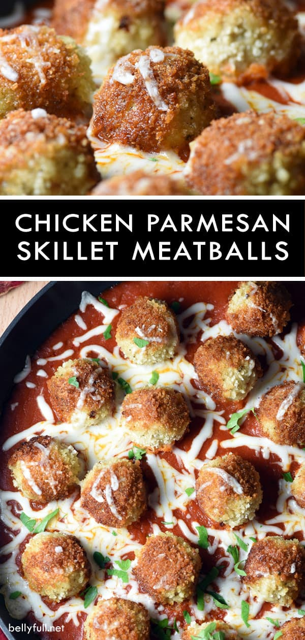 Skillet Chicken Parmesan Meatballs is your favorite Chicken Parmesan, but in meatball form. Serve with a simple side salad for a delicious complete dinner! #chickenparmesan #meatballs #skillet #recipe #skilletchickenparmesan #chickenparmesanmeatballs