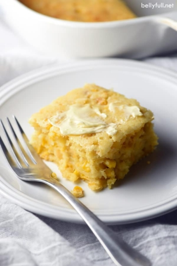 This Easy Creamy Cornbread Casserole is pure comfort and an excellent side dish for the holidays or all year round!
