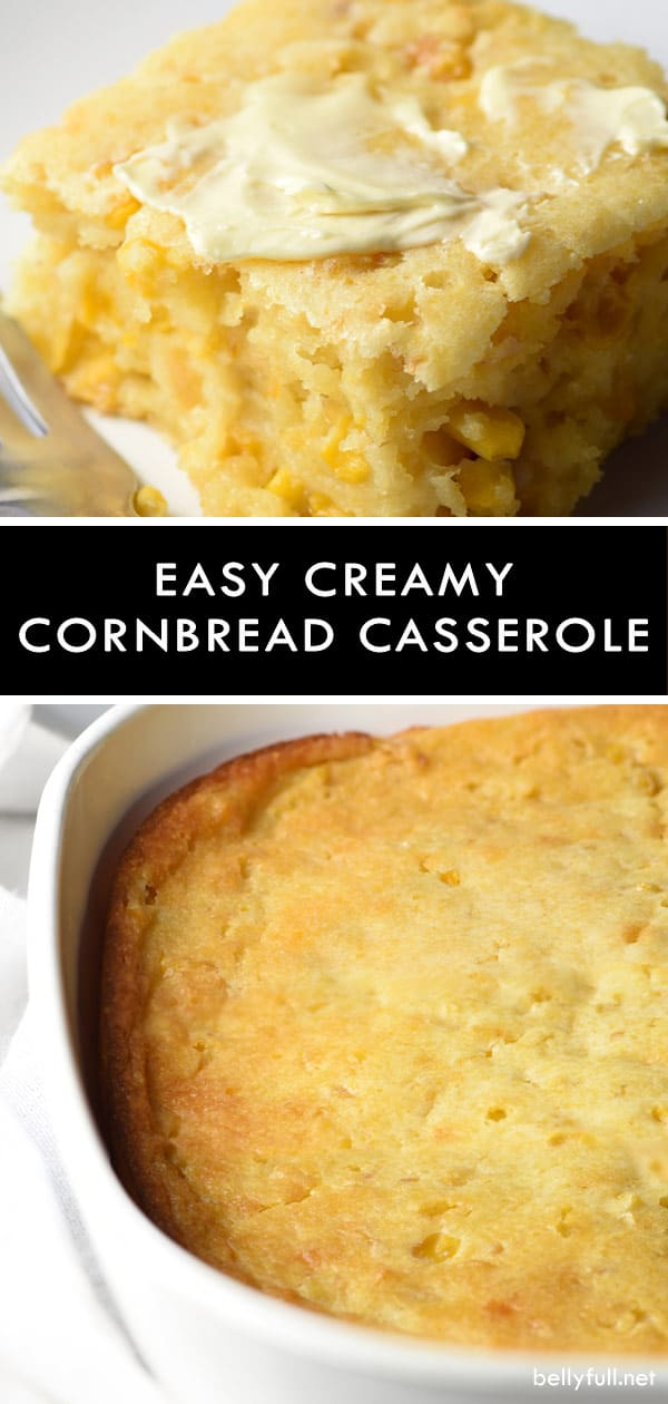 This Easy Creamy Cornbread Casserole is pure comfort and an excellent side dish for the holidays or all year round! #cornbread #cornbreadcasserole #creamycornbread #recipe #sidedish #corn