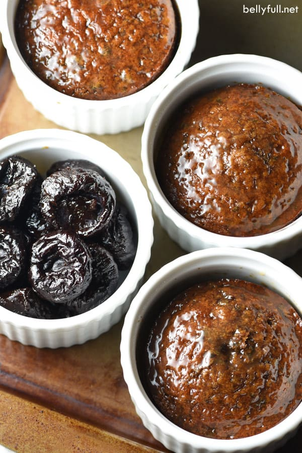 This traditional British Sticky Toffee Pudding dessert gets a slight make over with sweet California prunes instead of dates. Tender sponge cake is coated in a buttery and luscious caramel sauce. Every bite is to die for!