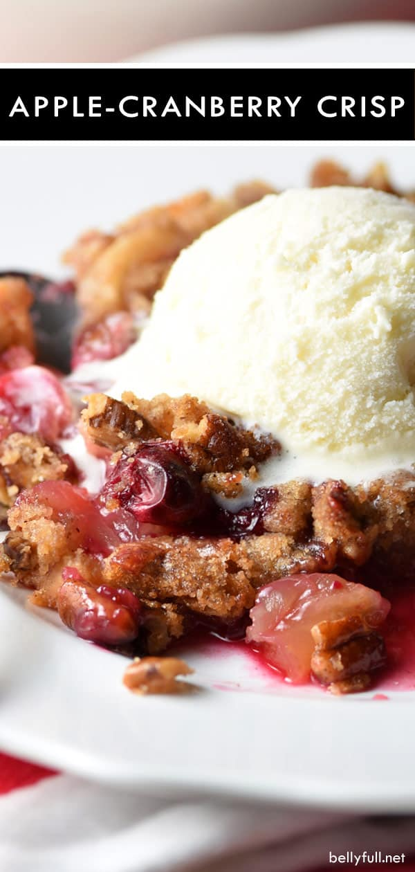 apple cranberry crisp with ice cream on white plate