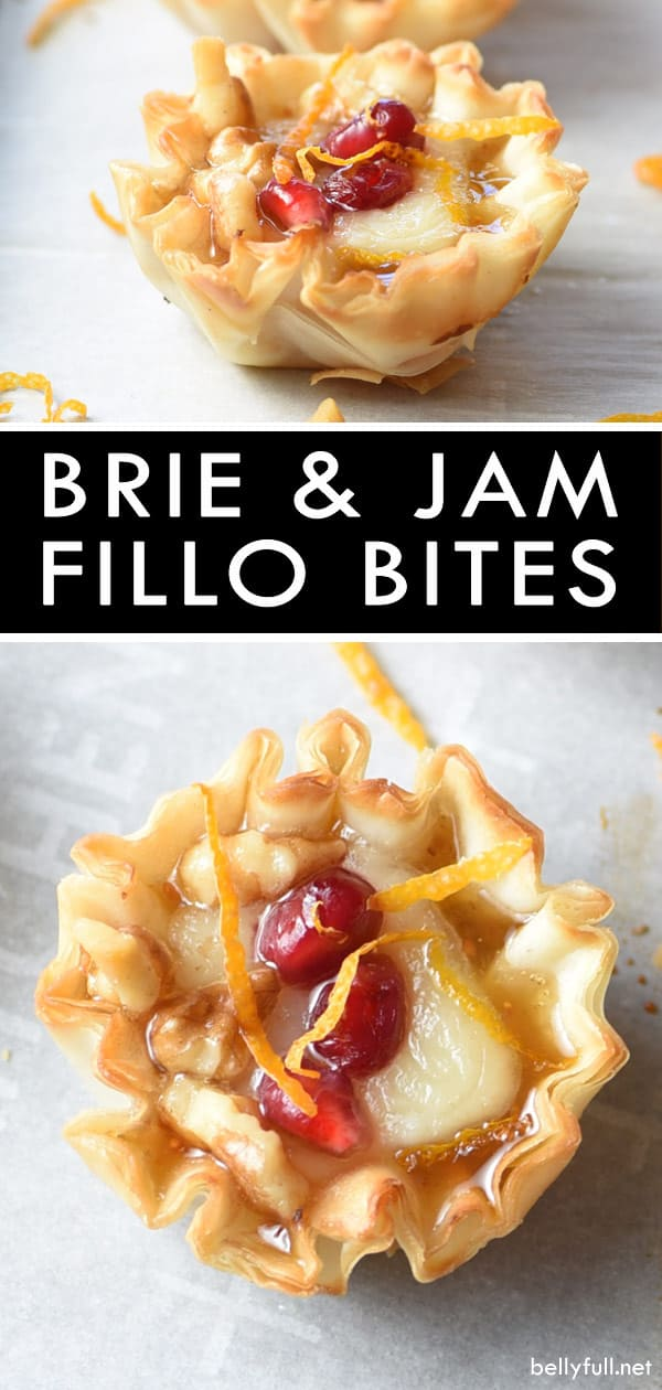 picture of small fillo dough cup filled with melted brie, jam, and pomegranate seeds