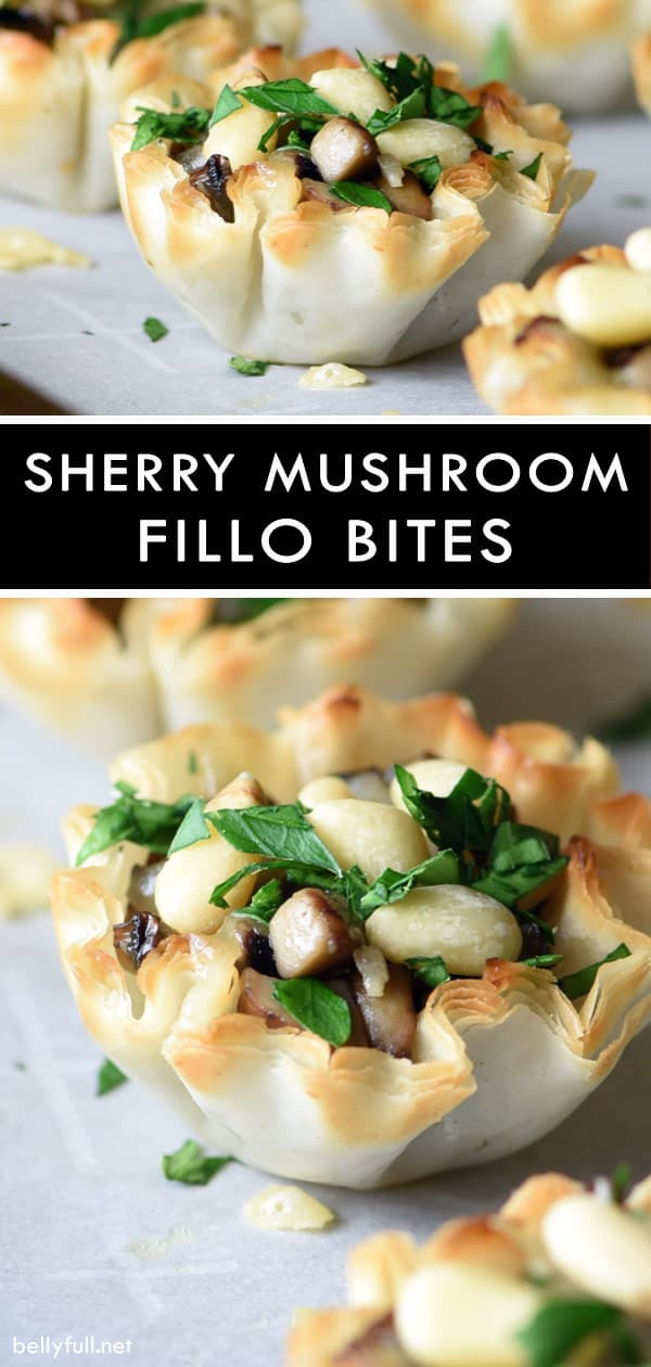 picture of mini fillo shells appetizer filled with mushrooms and cheese on a baking sheet