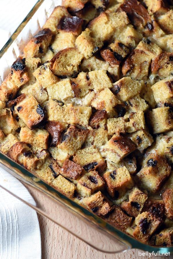 overhead picture of cinnamon raisin bread pudding in casserole dish
