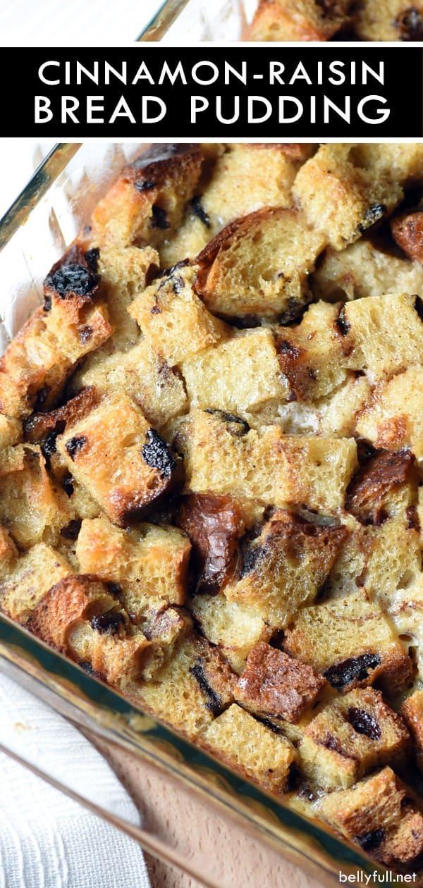 close up picture of cinnamon-raisin bread pudding