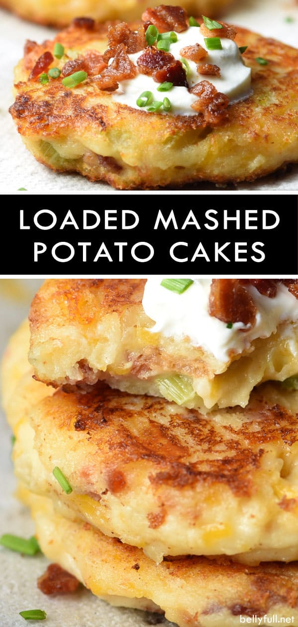 picture of loaded mashed potato cakes with cooked bacon, sour cream, and chives