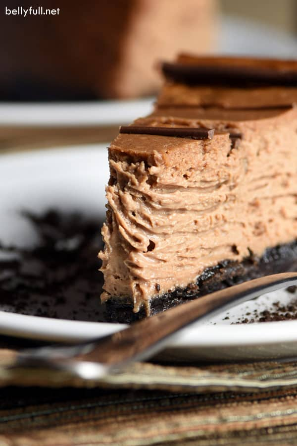 close up picture slice of Chocolate Mocha Cheesecake