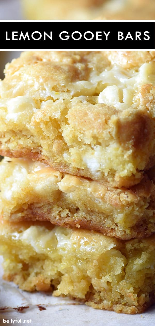 picture of lemon gooey bars, stack of 3